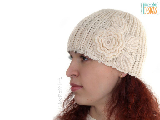 Crochet Ribbed Beanie with Flower designed and made by IraRott