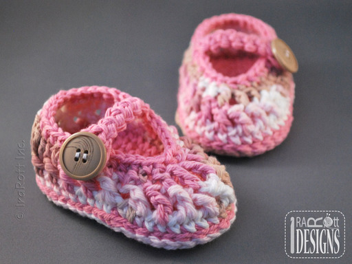 Crochet Eco Style Cotton Baby Booties designed by IraRott