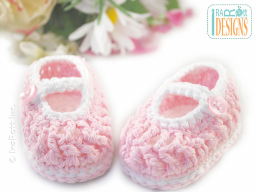 Soft Pink Crochet Cotton Baby Booties designed by IraRott