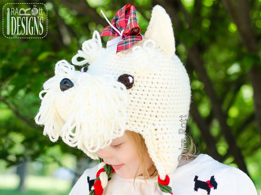 West Highland White Terrier Crochet Hat designed and made by IraRott