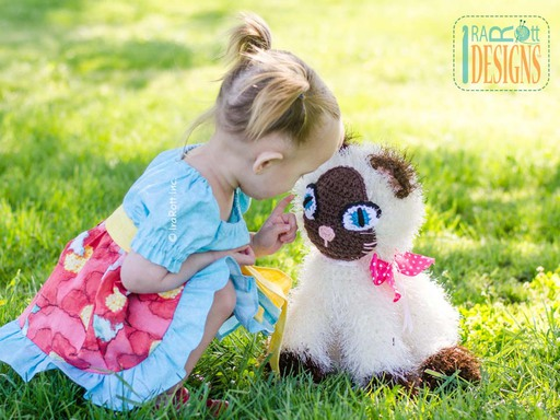 Siamese Furry Kitty Cat Amigurumi Animal Stuffed Toy Crochet Pattern by IraRott