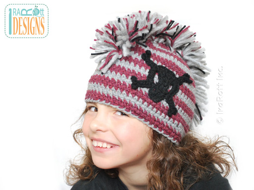 Crochet Skull and Crossbones Punk Hat designed and made by IraRott