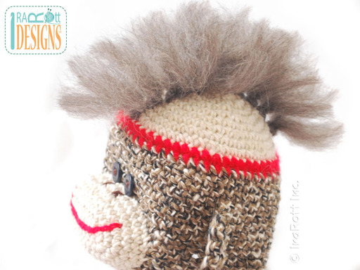 Crochet Sock Monkey Hat with Mohawk designed and made by IraRott