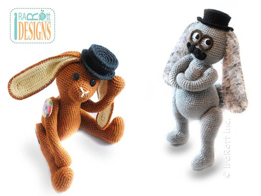 Steampunk Easter Bunny Amigurumi Stuffed Animal Toy with Fedora Hat and Glasses Crochet Pattern by IraRott