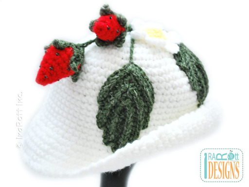 Crochet Strawberry Sunhat with Brim designed and made by IraRott