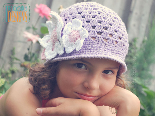 Crochet Sunhat with Brim and Flowers designed and made by IraRott