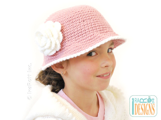 Crochet Sunhat with Brim and Flower designed and made by IraRott