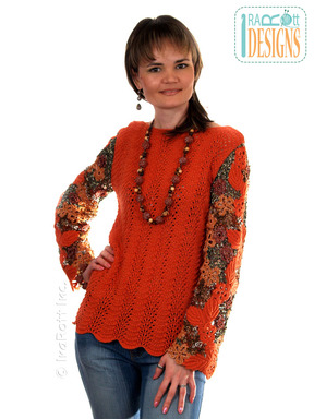 Knit Sweater with Free-Form Crochet Sleeves designed and made by IraRott