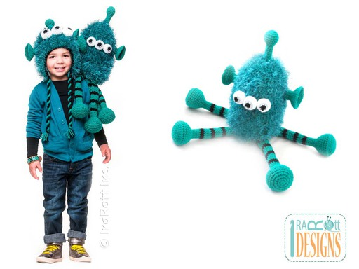 ZaZu Alien Monster Furry Amigurumi Toy and Hat for Kids Crochet Pattern by IraRott